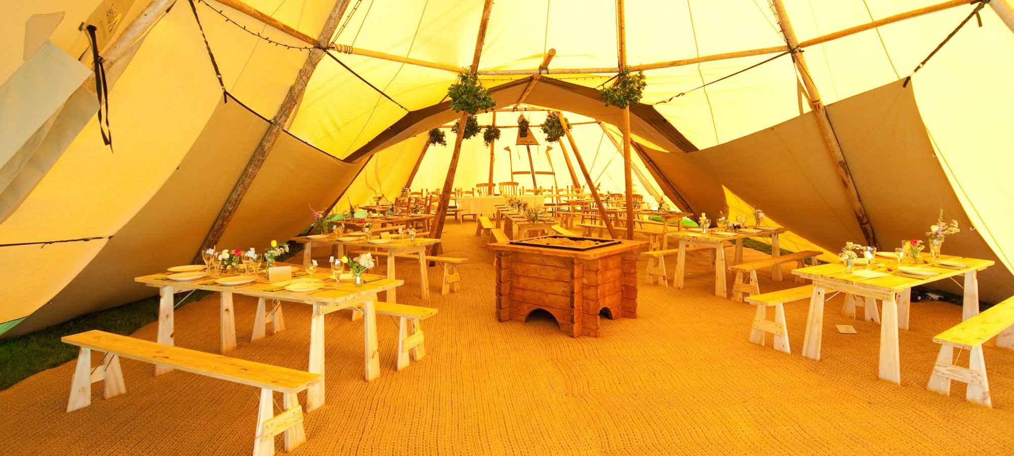 Tentipi tables and benches - buy giant tipis
