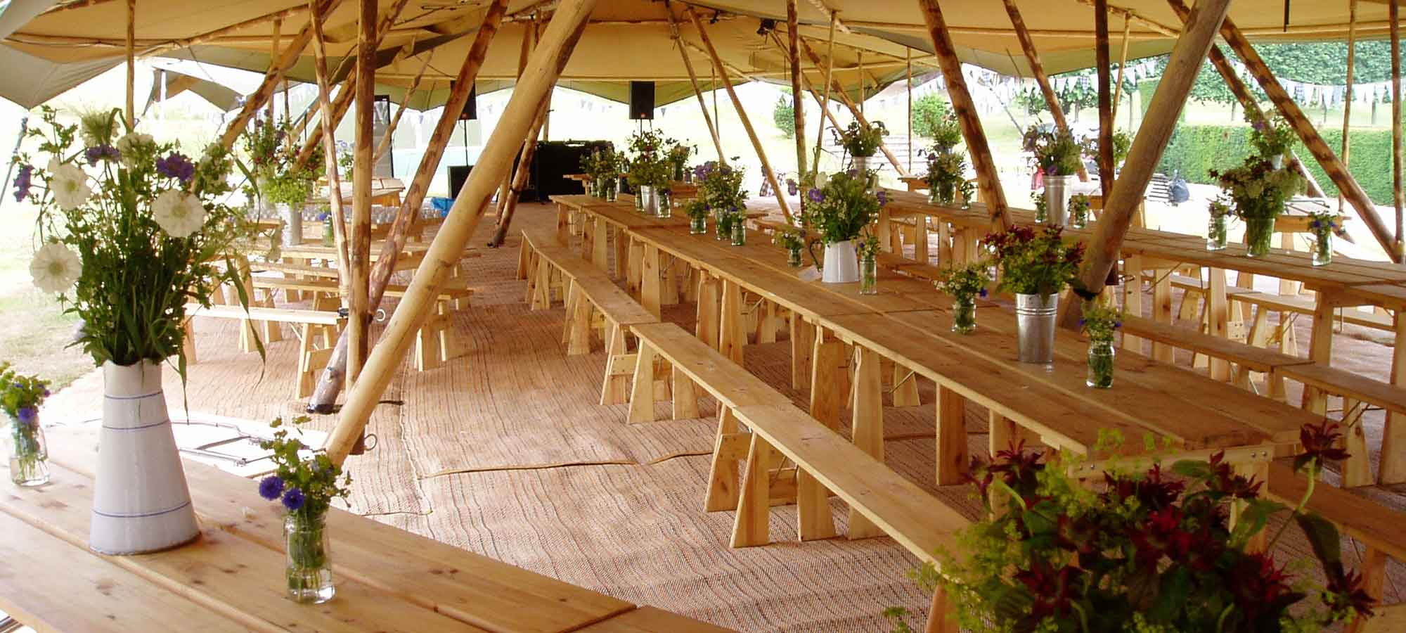 Tentipi tables and benches - purchase event tipi