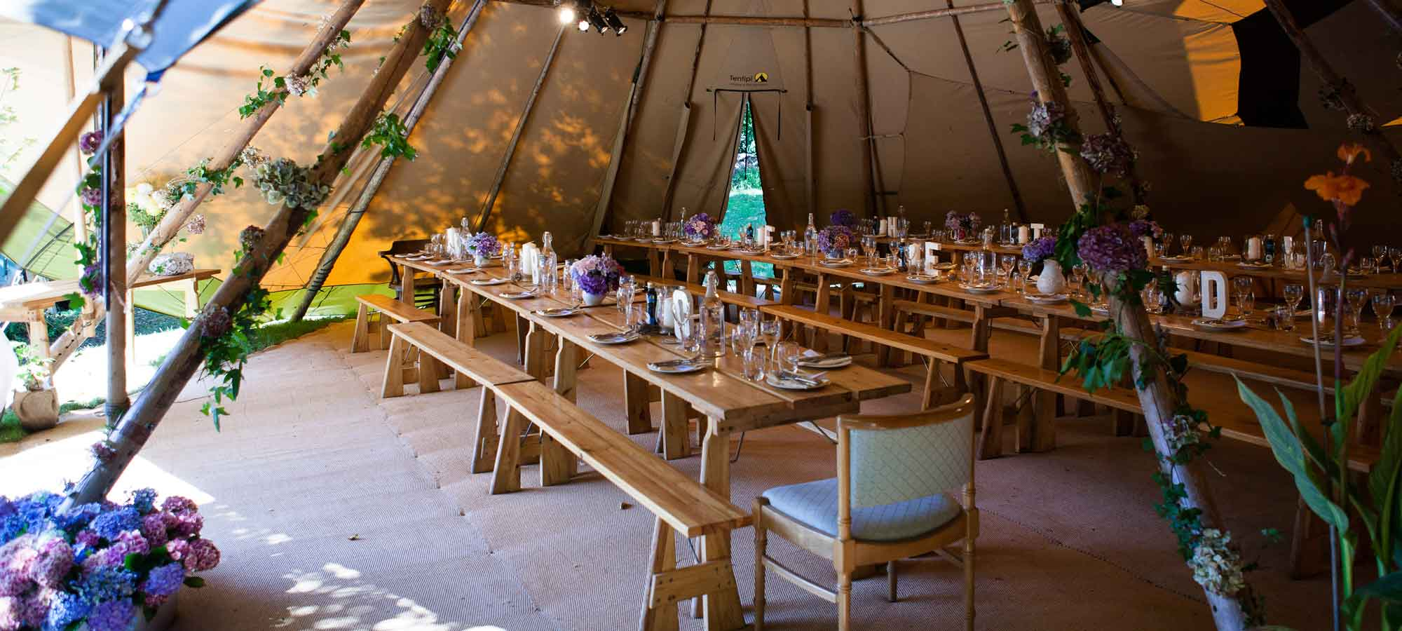 Tentipi tables and benches - giant hat kata tipi for sale