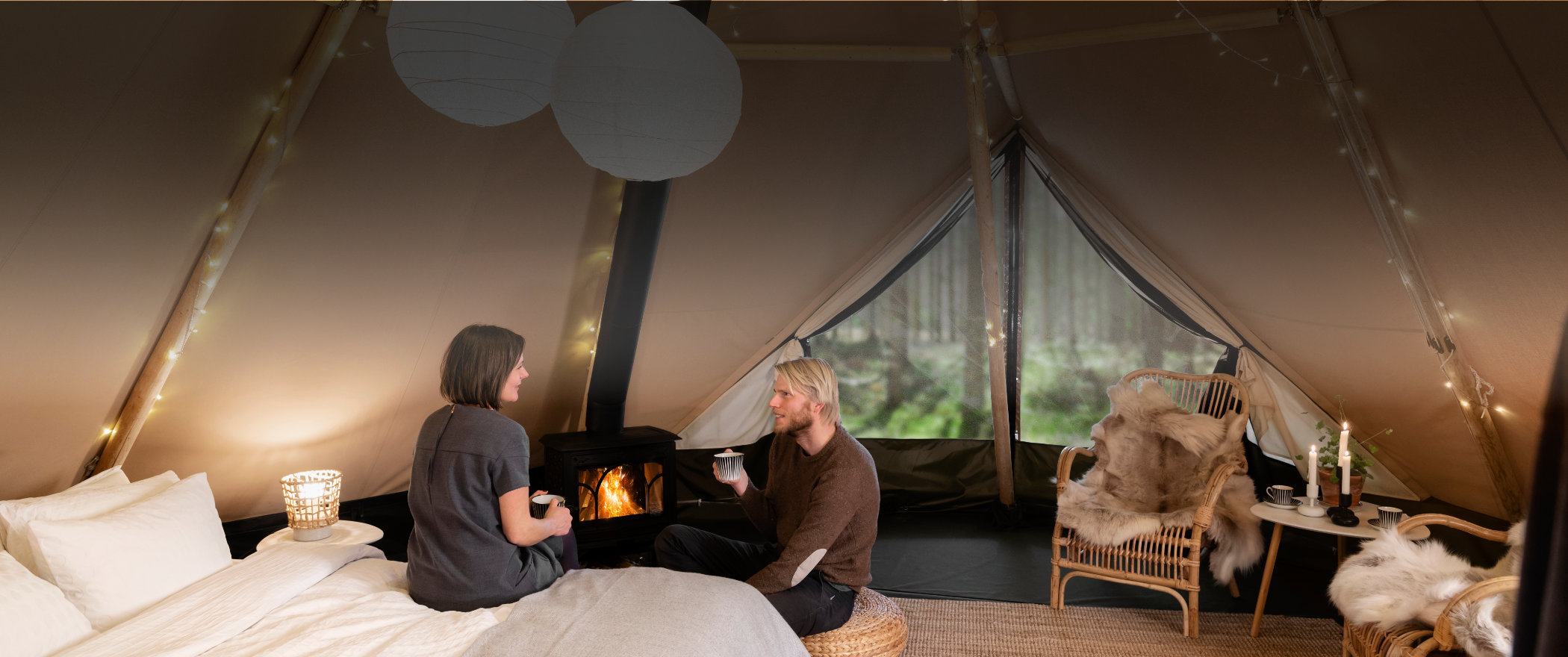 Aurum, our new luxurious glamping tent, for both elegance and comforts of home in the outdoors
