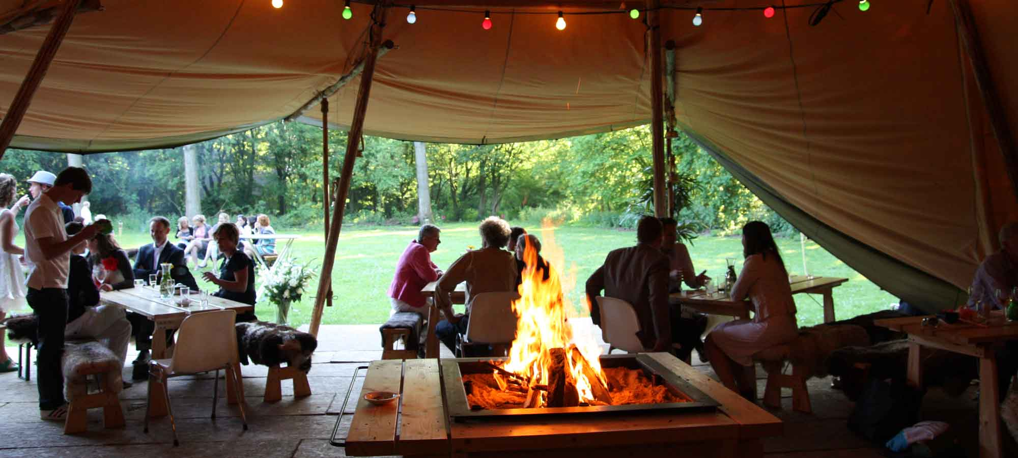 Tentipi interior and open fire - giant hat tents for sale