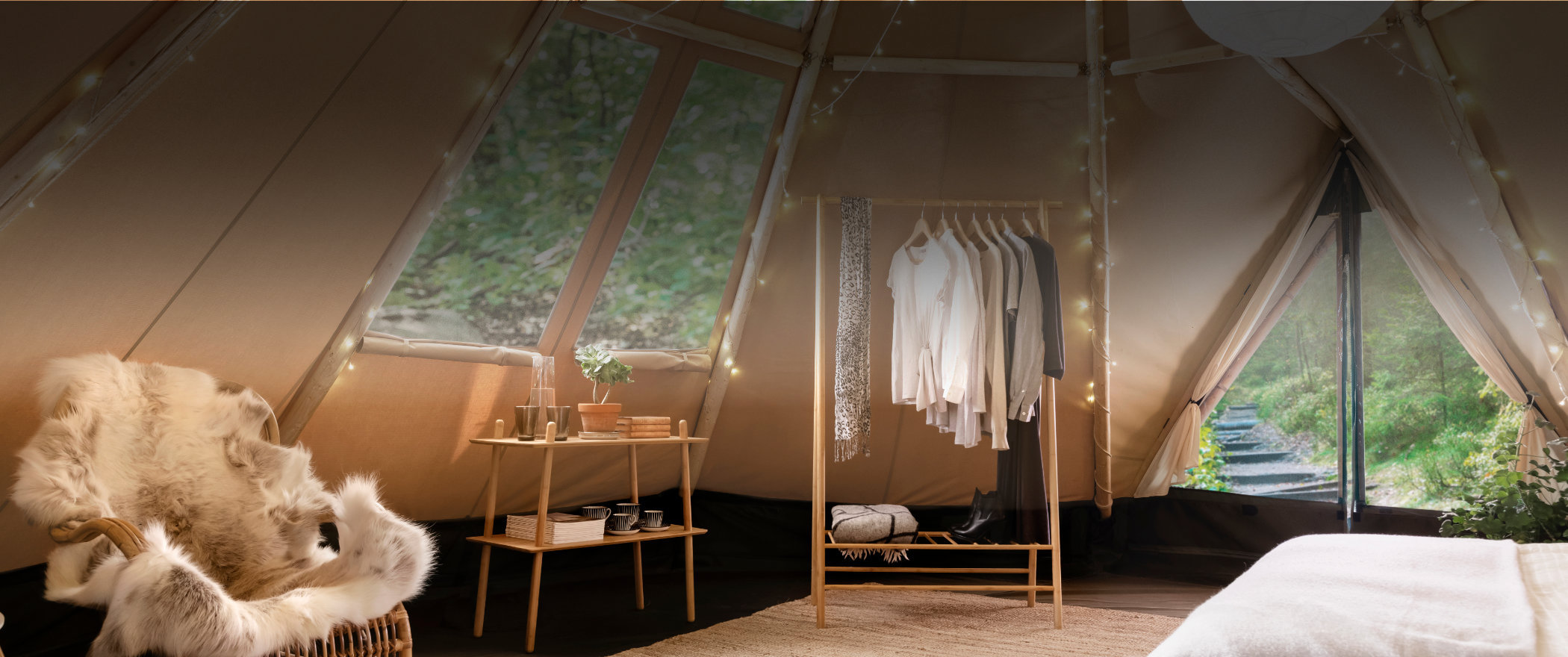 Luxury glamping tents with spacious room to furnish for both elegance and comfort