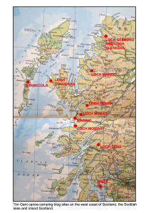 Tim Gent canoe camping blog sites on the west oast of Scotland the Scottish Isles and inland Scotland